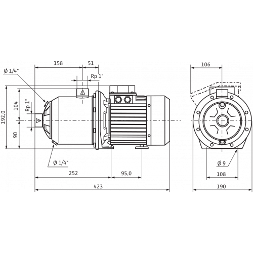 Центробежный насос  Wilo MHI 204-1/E/3-400-50-2