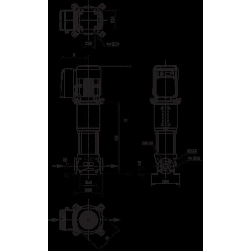Вертикальный многоступенчатый насос Wilo Helix VE 2205-2/16/V/K
