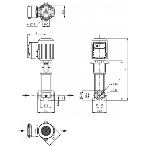 Вертикальный многоступенчатый насос Wilo Helix VE 608-1/25/E/KS