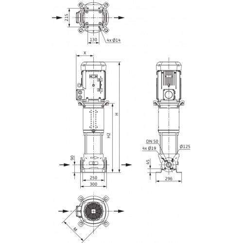 Вертикальный многоступенчатый насос Wilo Helix V 2203-2/16/V