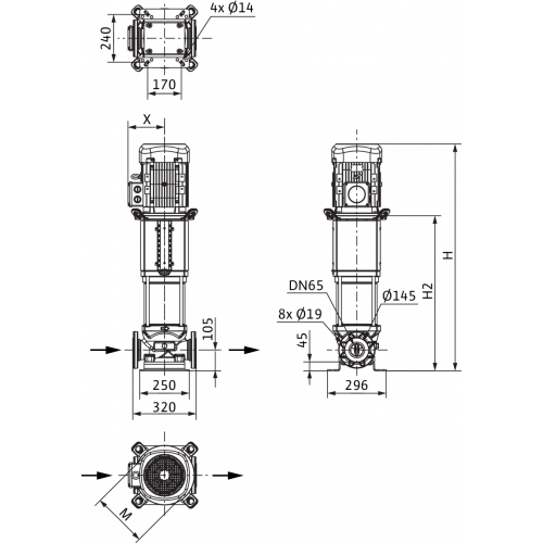 Вертикальный многоступенчатый насос Wilo Helix V 3603-2/16/V