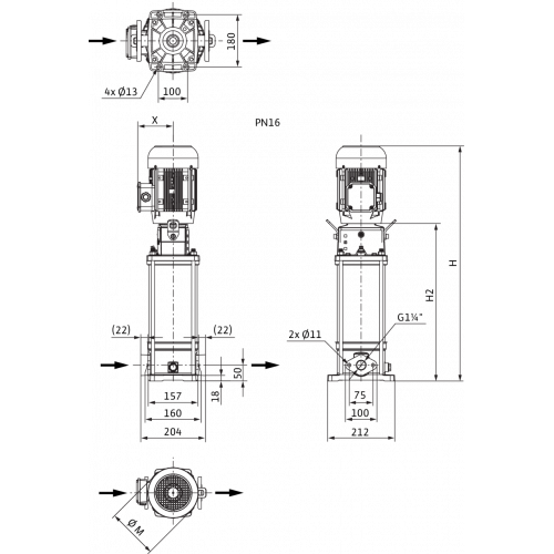 Вертикальный многоступенчатый насос Wilo Helix V 604-1/16/E/KS