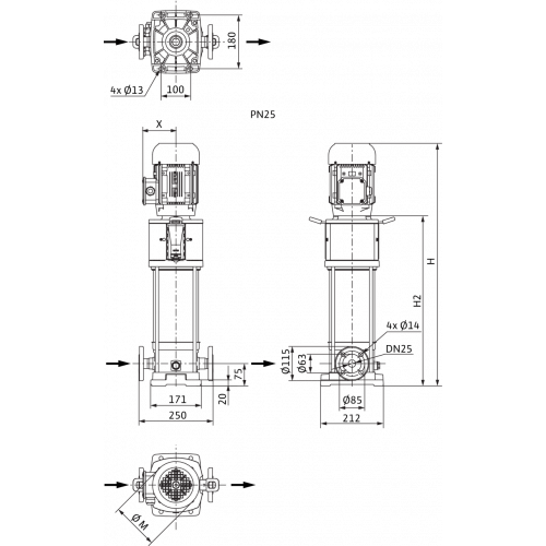 Вертикальный многоступенчатый насос Wilo Helix V 209-2/25/V/KS