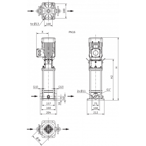 Вертикальный многоступенчатый насос Wilo Helix V 402-1/16/E/KS