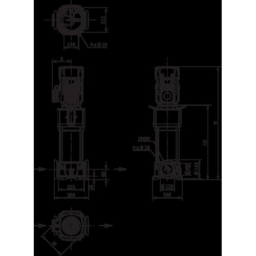 Вертикальный многоступенчатый насос Wilo Helix V 2204-4/16/E/S/