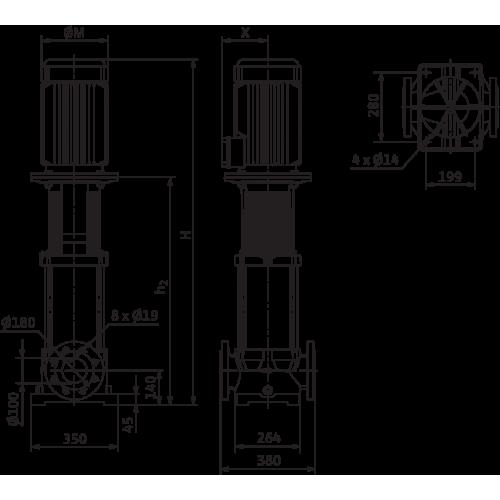 Вертикальный многоступенчатый насос Wilo MVI 9504/2-3/16/E/3-400-50-2