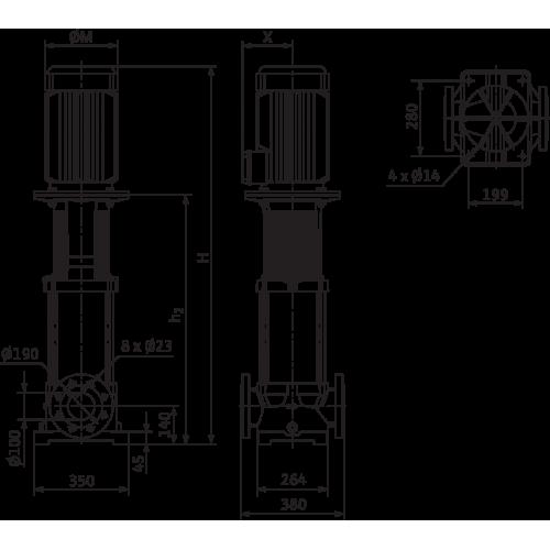 Вертикальный многоступенчатый насос Wilo MVI 9502/1-3/25/E/3-400-50-2
