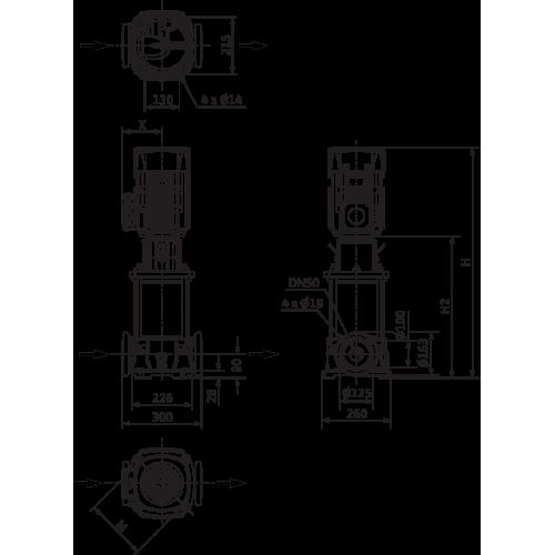 Вертикальный многоступенчатый насос Wilo Helix FIRST V 2202-5/16/E/S/