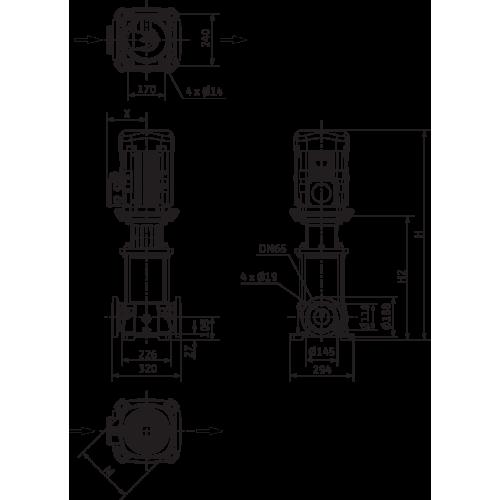 Вертикальный многоступенчатый насос Wilo Helix FIRST V 3607/2-5/25/E/KS/