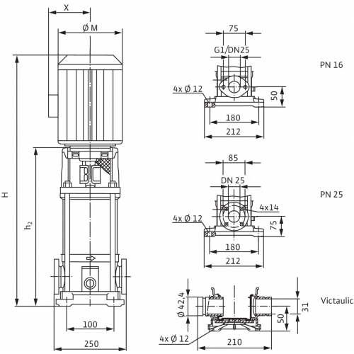 Вертикальный многоступенчатый насос Wilo Multivert MVI 104 (1~230 V, EPDM, PN 16)