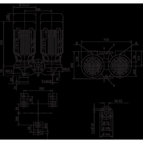 Циркуляционный насос с сухим ротором в исполнении Inline с фланцевым соединением Wilo VeroTwin-DPL 32/95-0,55/2