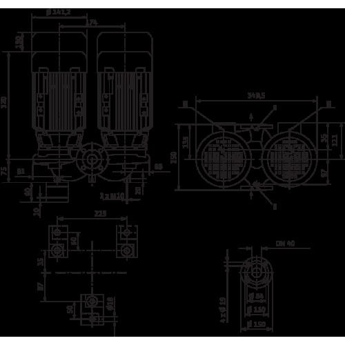 Циркуляционный насос с сухим ротором в исполнении Inline с фланцевым соединением Wilo VeroTwin-DPL 40/115-0,55/2